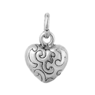 Silver Heart Dangle Charm