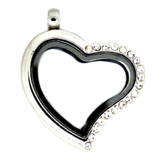 Medium Silver Heart Living Locket with Half Crystals