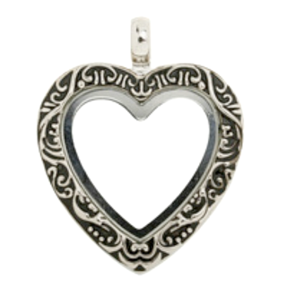 Silver Vintage Heart Living Locket