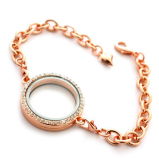 Rose Gold Medium Round Living Locket Bracelet with Crystals