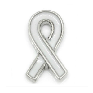 White Lung Cancer Awareness Ribbon Charm