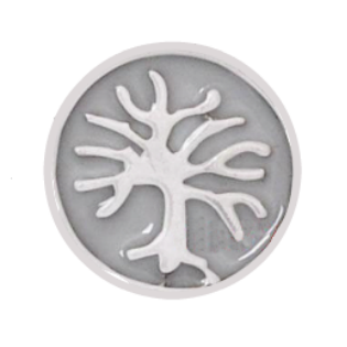 Family Tree Disc Charm - Silver