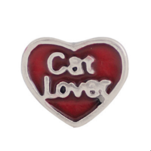 Red Cat Lover Heart Charm