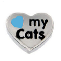 Love My Cats Charm - Blue Heart