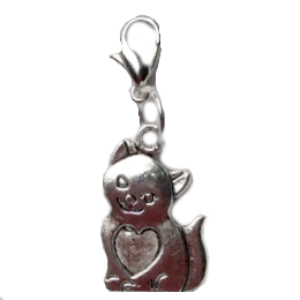 Silver Cat Dangle Charm
