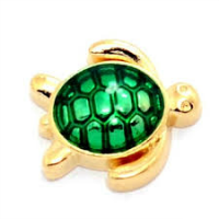 Gold and Green Tortoise Charm