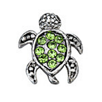 Silver and Green Crystal Tortoise Charm