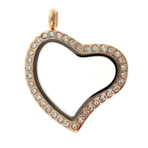 Medium Rose Gold Heart Living Locket with Crystals