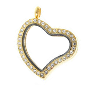 Medium Gold Heart Living Locket with Crystals