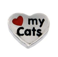 Love My Cats Heart Charm - Red Heart