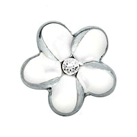White Flower Charm with Crystal Accent