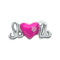 I Love You Charm with Crystal Accent