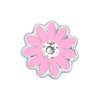 Light Pink Daisy Charm with Crystal Accent
