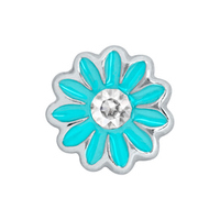 Aqua Blue Daisy Charm with Crystal Accent