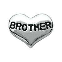 Silver Brother Heart Charm