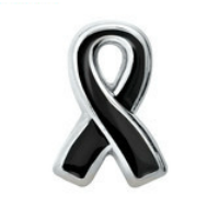 Black Melanoma Awareness Ribbon Charm