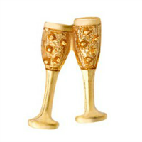 Gold Wine Goblets Charm