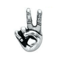 Silver Peace Hand Sign Charm