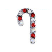 Xmas Candy Cane Charm with Crystals