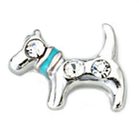 Silver Dog with Blue Collar Charm & Crystal Accents