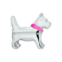 Silver Dog with Pink Collar Charm