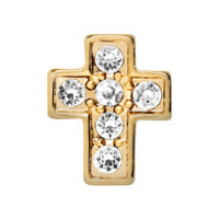 Gold Crystal Cross Charm