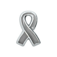 Silver/Grey Awareness Ribbon Charm - Asthma, Diabetes, Brain Cancer