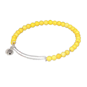 Adjustable Silver Stacking Bangle with Yellow Gemstones