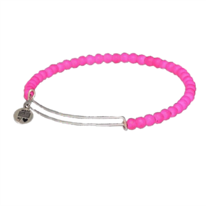 Adjustable Silver Stacking Bangle & Hot Pink Gemstones