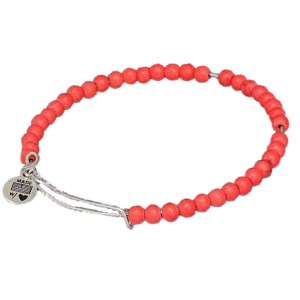 Adjustable Silver Stacking Bangle & Coral Gemstones