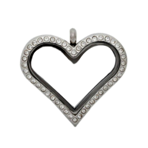 Medium Silver Heart Living Locket with Crystals