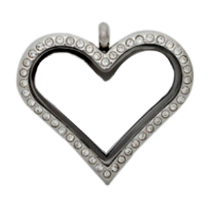 Large Silver Heart Living Locket with Crystals