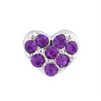 Silver & Purple Crystal Heart Charm