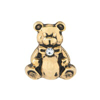 Gold Teddy Bear Charm with Crystal Accent