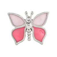 Pink Butterfly Charm with Crystal Accent
