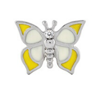 Yellow Butterfly Charm with Crystal Accent