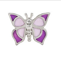 Purple Butterfly Charm with Crystal Accent