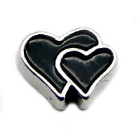 Black Double Heart Charm