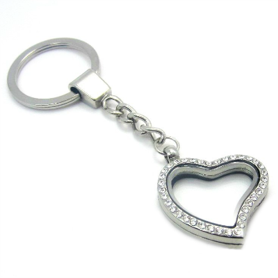 Silver Heart Living Locket with Crystals Keyring