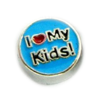 I Love My Kids Charm - Blue