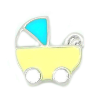 Yellow & Blue Baby Carriage Charm