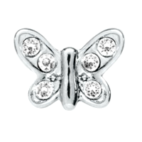 Mini Silver Crystal Butterfly Charm