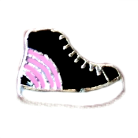 Pink & Black Hightop Sneakers Charm