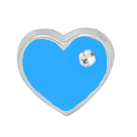 Mini Blue Heart Charm with Crystal Accent