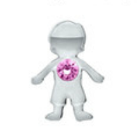 Little Boy Charm with Pink Crystal Accent