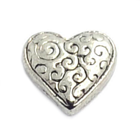 Antique Silver Carved Heart Charm
