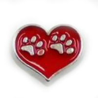 Red Heart with Animal Paw Prints Charm