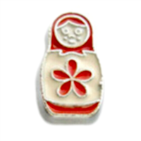 Red & White Russian Doll Charm