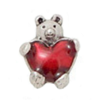 Bear with Glossy Red Heart Charm