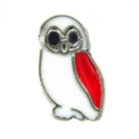 Red & White Wise Owl Charm